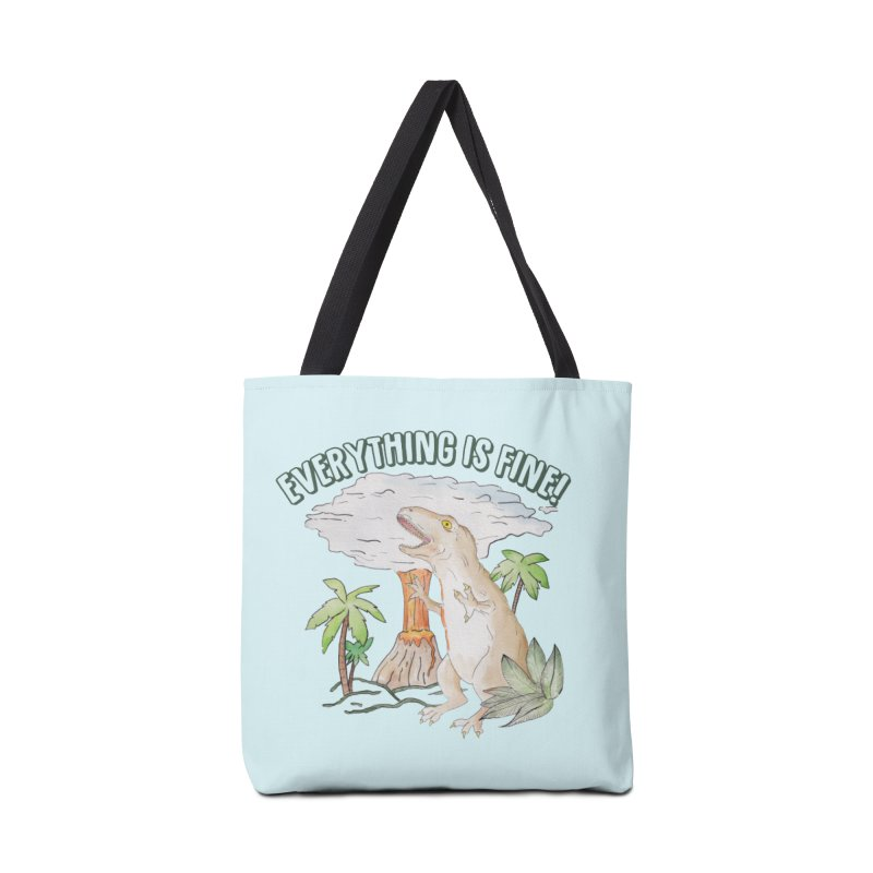 Everything is fine! Dino meltdown 2020 watercolor funny scene T-Shirt Accessories Bag by Wandering Laur's Artist Shop