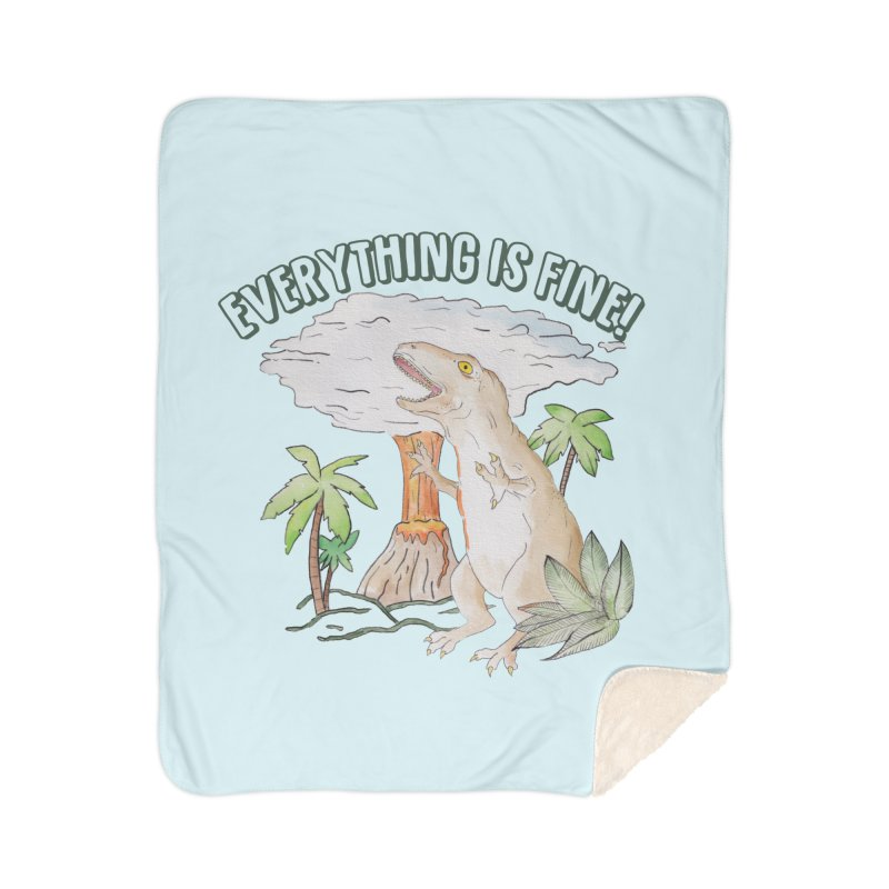 Everything is fine! Dino meltdown 2020 watercolor funny scene T-Shirt Home Blanket by Wandering Laur's Artist Shop