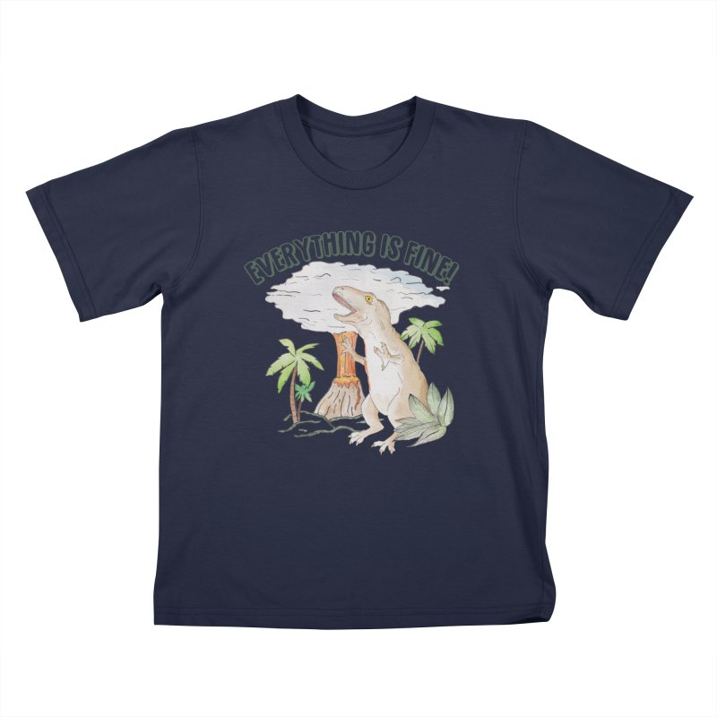 Everything is fine! Dino meltdown 2020 watercolor funny scene T-Shirt Kids T-Shirt by Wandering Laur's Artist Shop