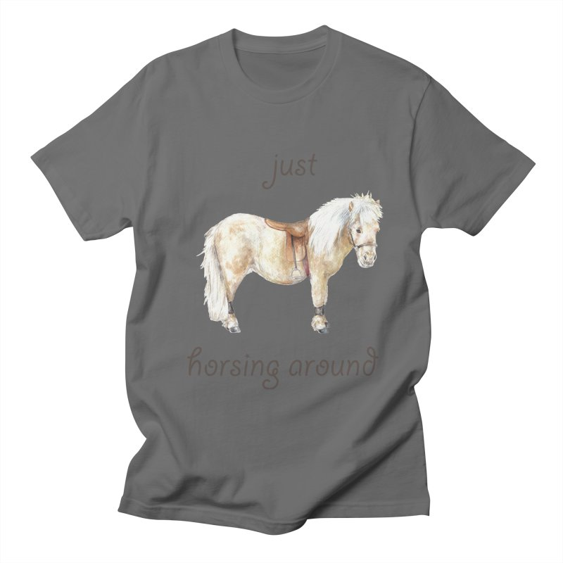 Just horsing around - shetland pony watercolor equestrian illustration Men's T-Shirt by Wandering Laur's Artist Shop