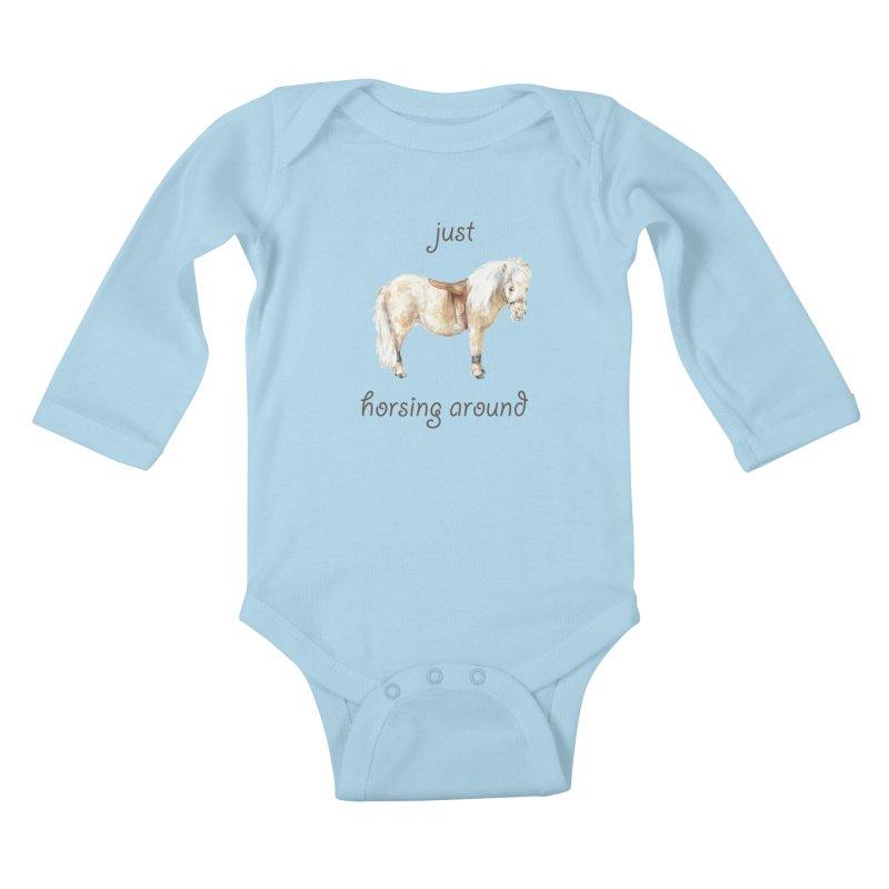 Just horsing around - shetland pony watercolor equestrian illustration Kids Baby Longsleeve Bodysuit by Wandering Laur's Artist Shop