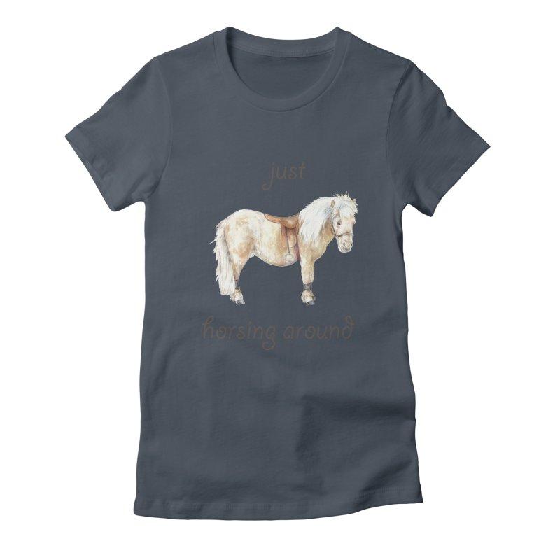 Just horsing around - shetland pony watercolor equestrian illustration Women's T-Shirt by Wandering Laur's Artist Shop