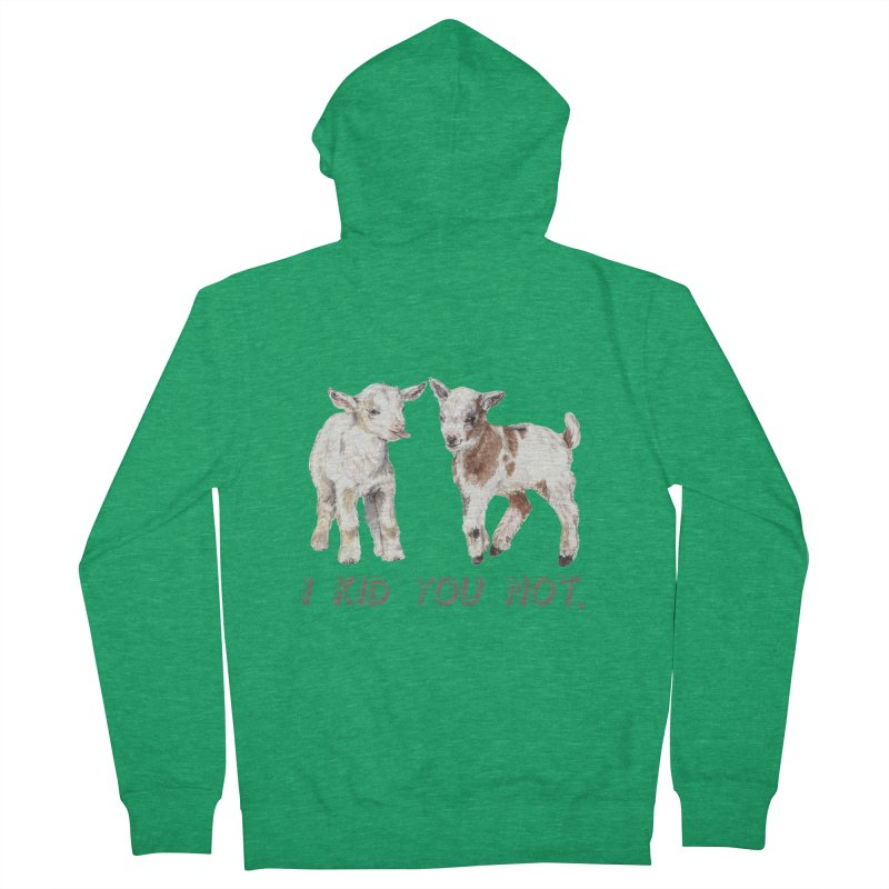 I Kid You Not baby goat watercolor farm animal illustration Men's Zip-Up Hoody by Wandering Laur's Artist Shop