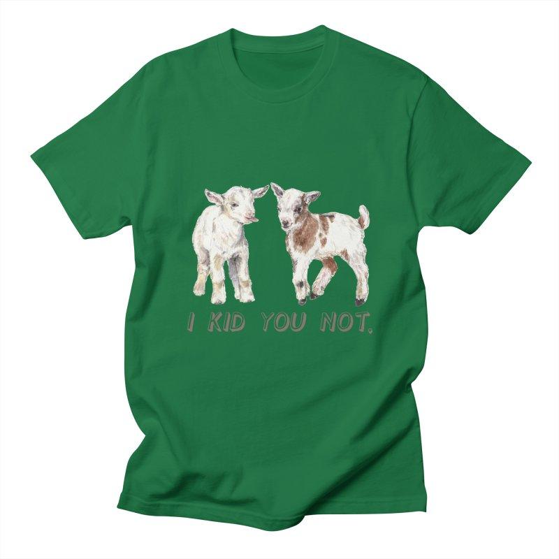 I Kid You Not baby goat watercolor farm animal illustration Men's T-Shirt by Wandering Laur's Artist Shop