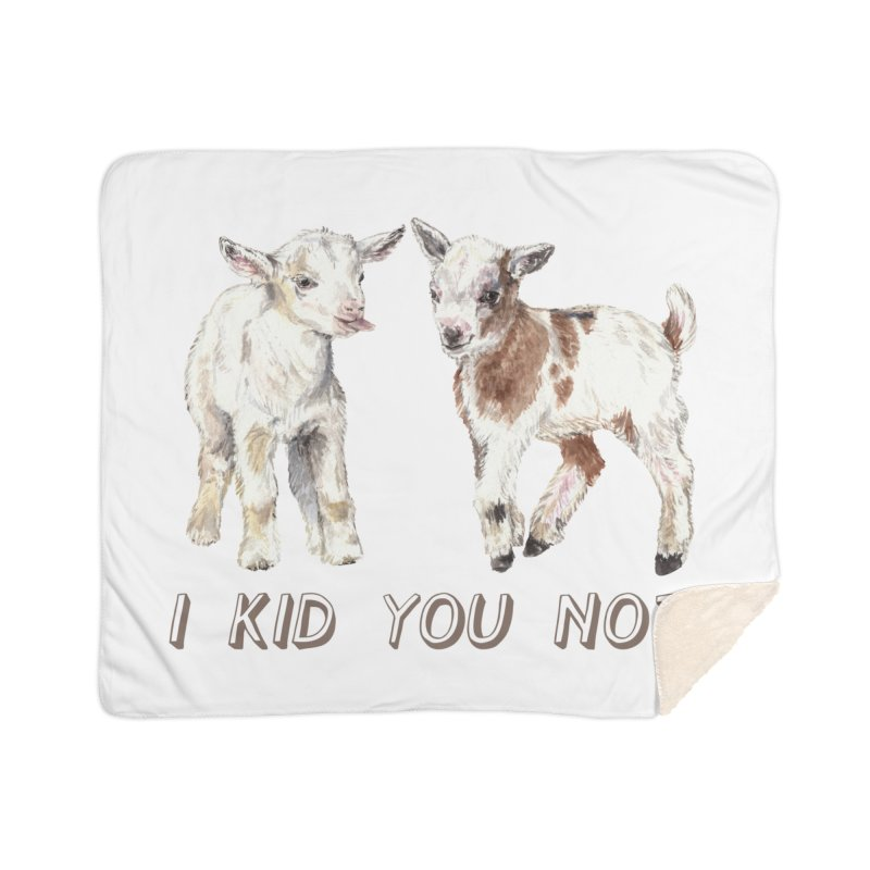 I Kid You Not baby goat watercolor farm animal illustration Home Blanket by Wandering Laur's Artist Shop