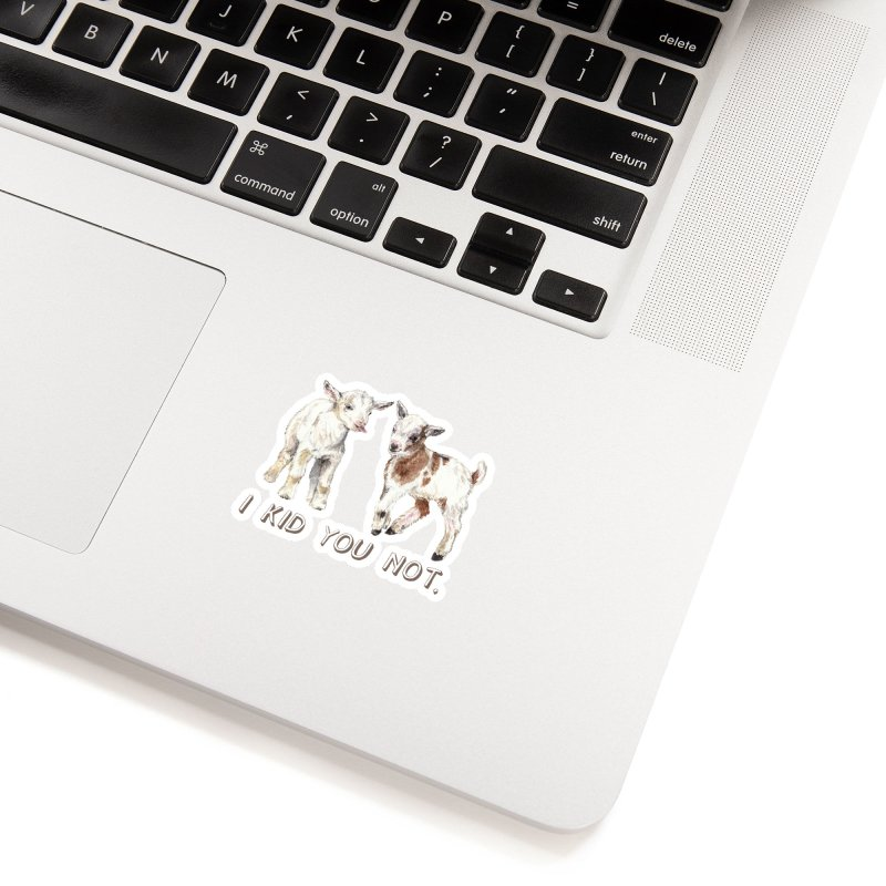 I Kid You Not baby goat watercolor farm animal illustration Accessories Sticker by Wandering Laur's Artist Shop