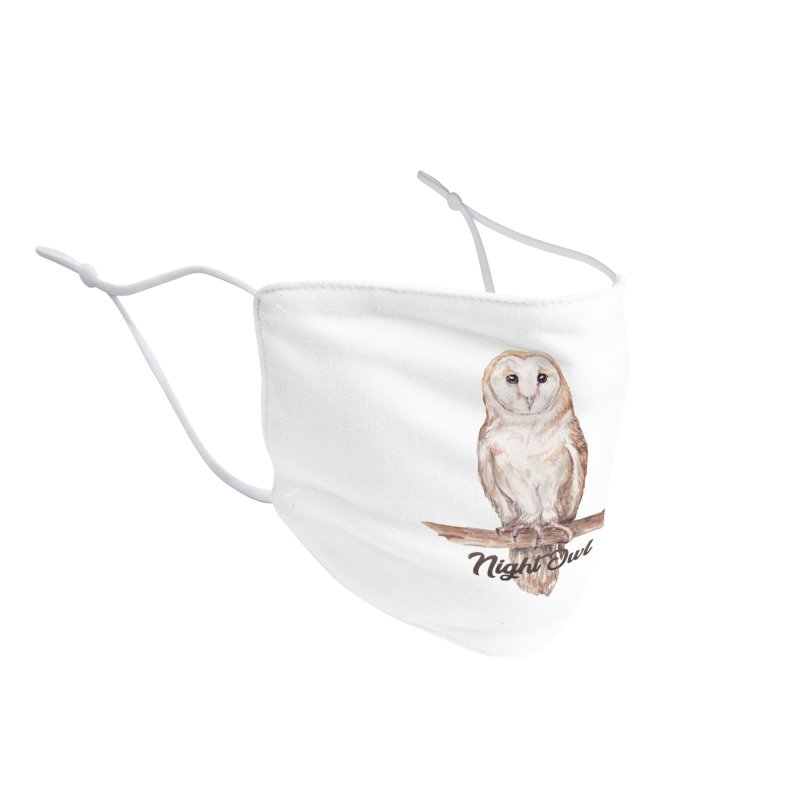 Night Owl Barn Owl Watercolor Accessories Face Mask by Wandering Laur's Artist Shop