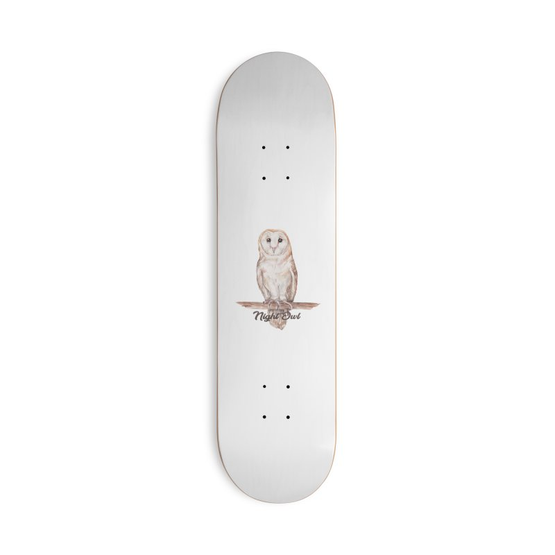 Night Owl Barn Owl Watercolor Accessories Skateboard by Wandering Laur's Artist Shop