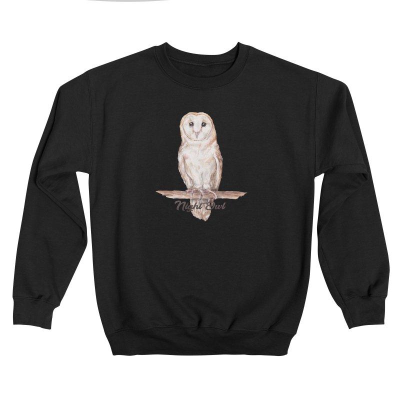 Night Owl Barn Owl Watercolor Women's Sweatshirt by Wandering Laur's Artist Shop