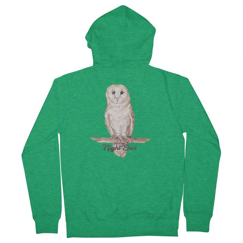 Night Owl Barn Owl Watercolor Women's Zip-Up Hoody by Wandering Laur's Artist Shop