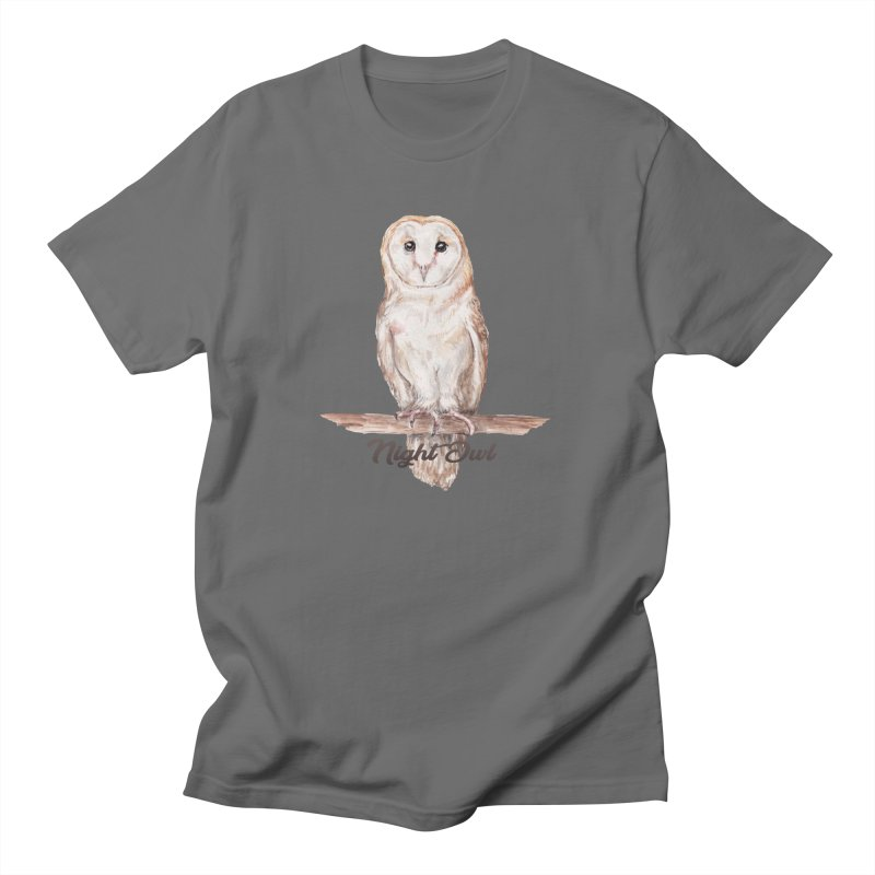 Night Owl Barn Owl Watercolor Men's T-Shirt by Wandering Laur's Artist Shop