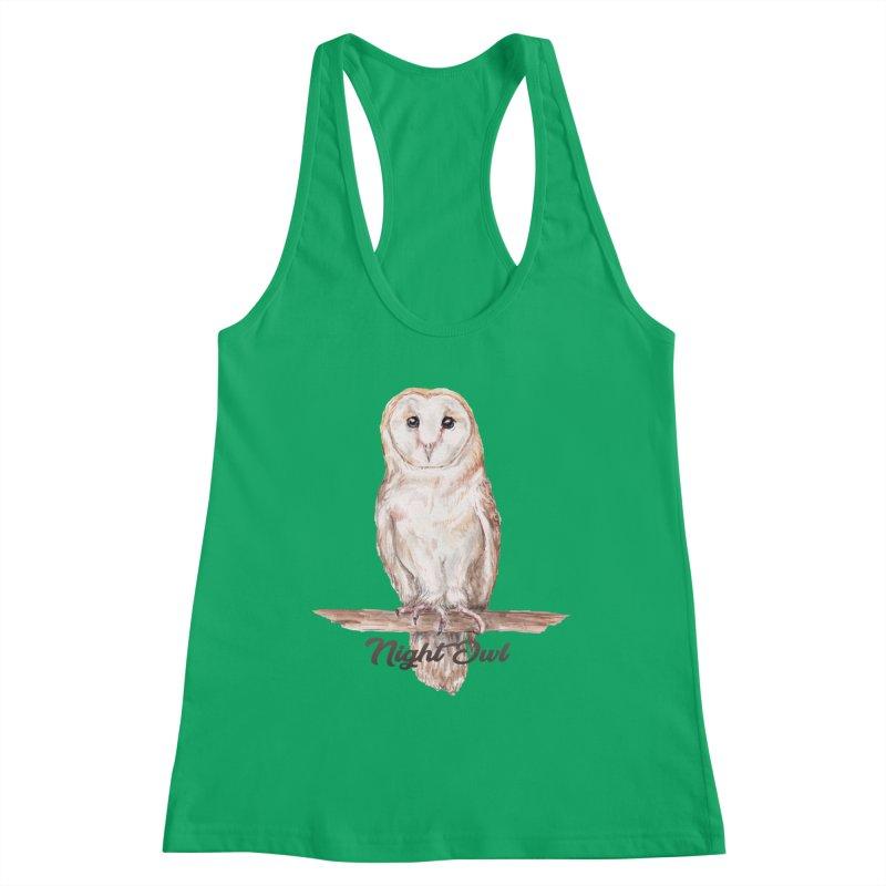 Night Owl Barn Owl Watercolor Women's Tank by Wandering Laur's Artist Shop
