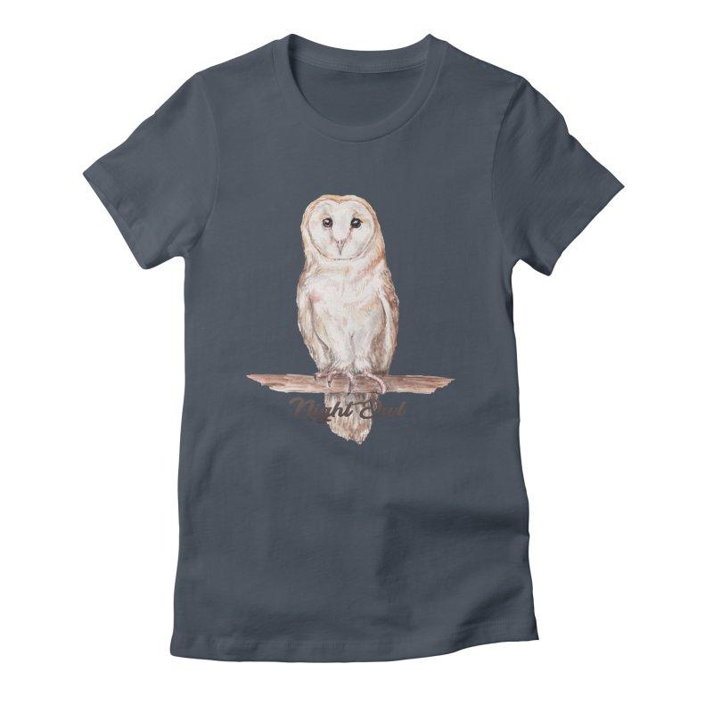 Night Owl Barn Owl Watercolor Women's T-Shirt by Wandering Laur's Artist Shop