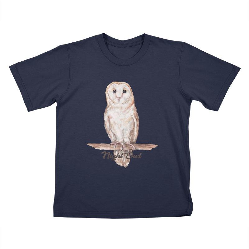 Night Owl Barn Owl Watercolor Kids T-Shirt by Wandering Laur's Artist Shop
