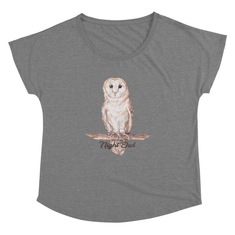 Night Owl Barn Owl Watercolor Women's Scoop Neck by Wandering Laur's Artist Shop
