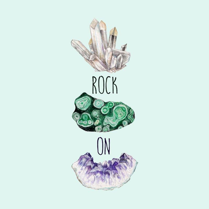 Rock On Amethyst Quartz Malachite Crystal Watercolor Illustration Men's T-Shirt by Wandering Laur's Artist Shop