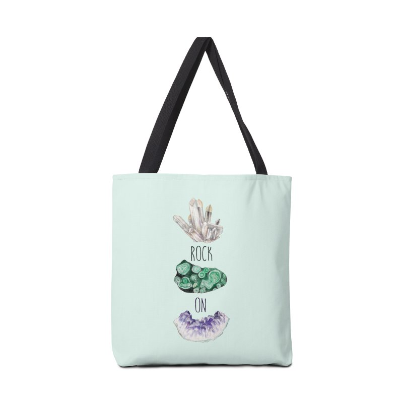 Rock On Amethyst Quartz Malachite Crystal Watercolor Illustration Accessories Bag by Wandering Laur's Artist Shop