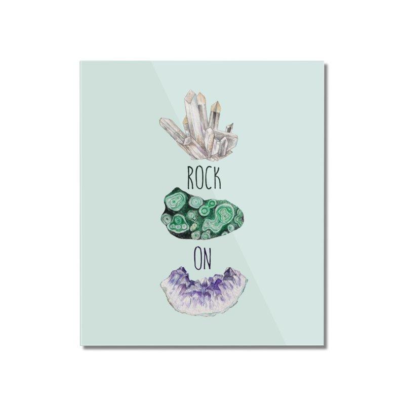 Rock On Amethyst Quartz Malachite Crystal Watercolor Illustration Home Mounted Acrylic Print by Wandering Laur's Artist Shop
