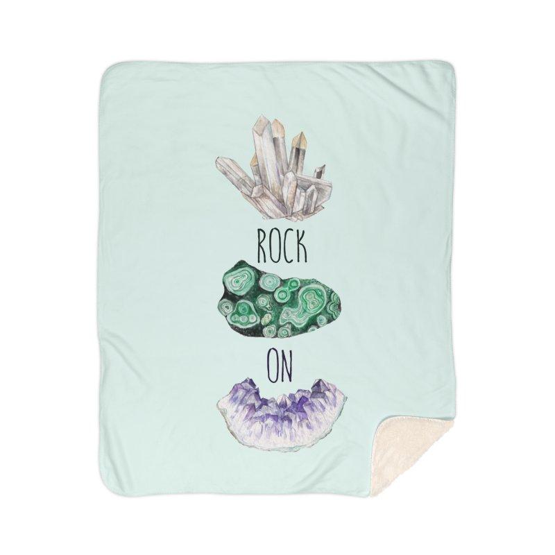Rock On Amethyst Quartz Malachite Crystal Watercolor Illustration Home Blanket by Wandering Laur's Artist Shop