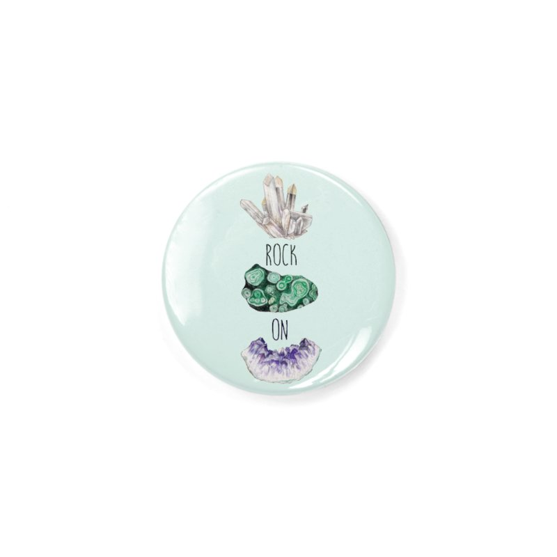 Rock On Amethyst Quartz Malachite Crystal Watercolor Illustration Accessories Button by Wandering Laur's Artist Shop