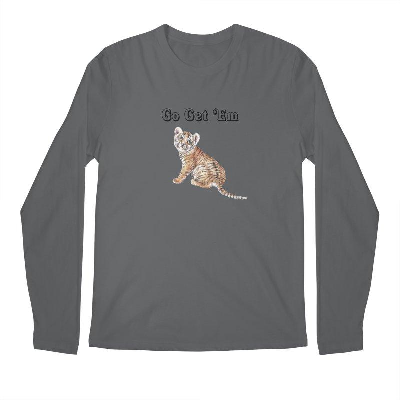 Go Get Em Tiger Watercolor Illustration Men's Longsleeve T-Shirt by Wandering Laur's Artist Shop