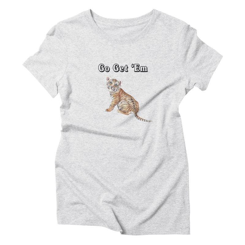 Go Get Em Tiger Watercolor Illustration Women's T-Shirt by Wandering Laur's Artist Shop