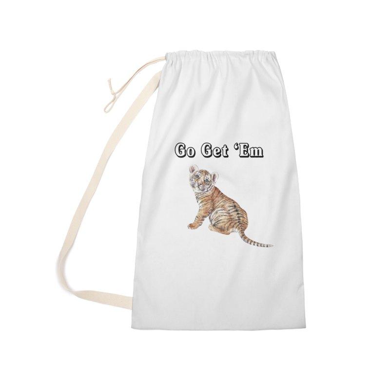 Go Get Em Tiger Watercolor Illustration Accessories Bag by Wandering Laur's Artist Shop