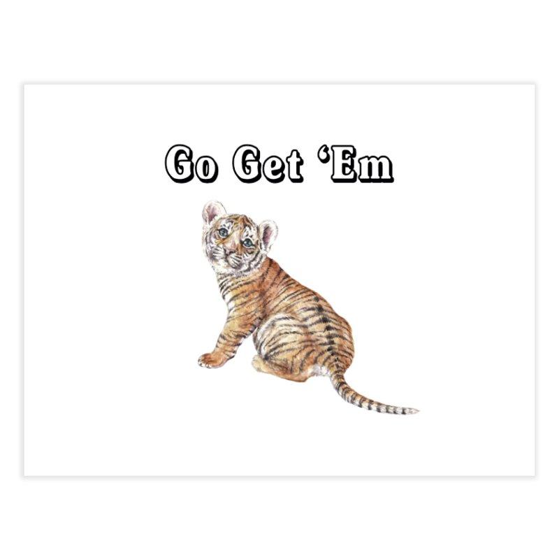 Go Get Em Tiger Watercolor Illustration Home Fine Art Print by Wandering Laur's Artist Shop