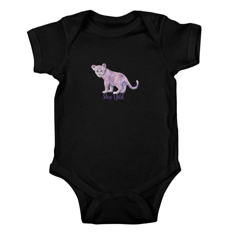 Stay Wild Leopard Cub Kids Baby Bodysuit by Wandering Laur's Artist Shop