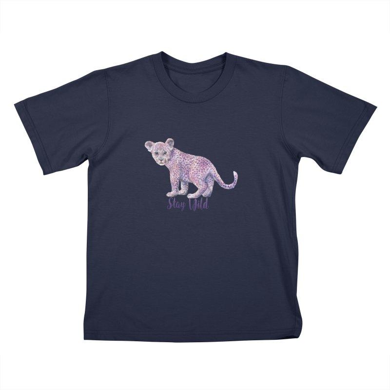Stay Wild Leopard Cub Kids T-Shirt by Wandering Laur's Artist Shop