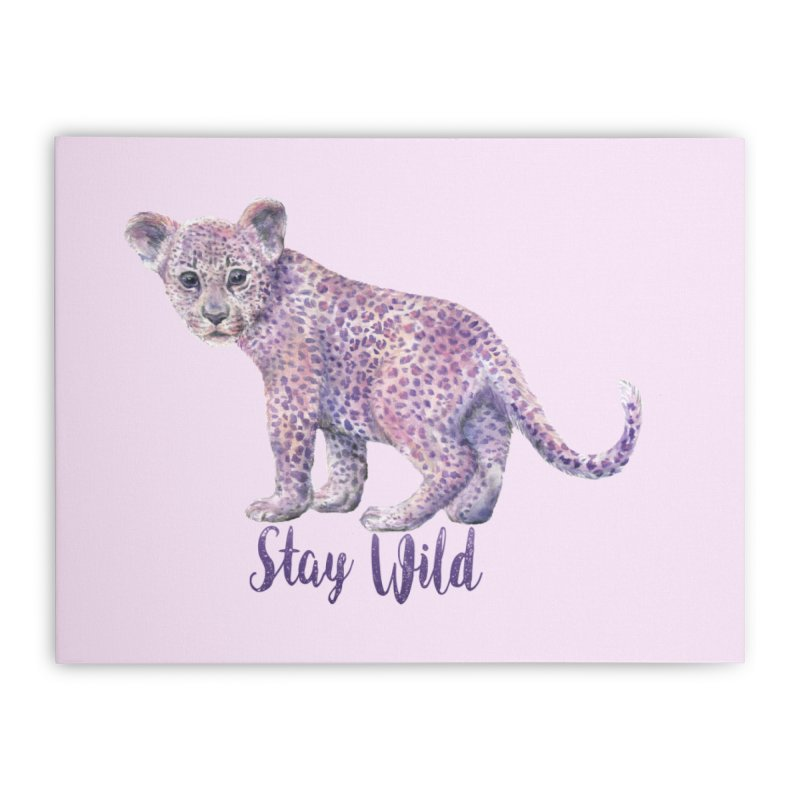 Stay Wild Leopard Cub Home Stretched Canvas by Wandering Laur's Artist Shop