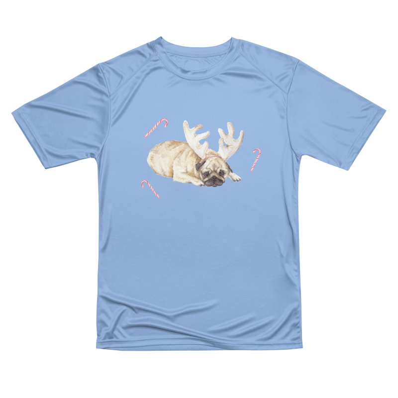 Christmas Pug Dog With Antlers and Candy Canes Men's T-Shirt by Wandering Laur's Artist Shop