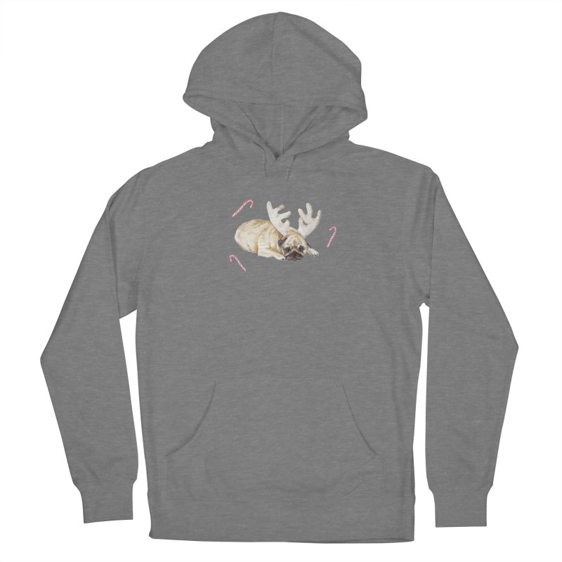Christmas Pug Dog With Antlers and Candy Canes Women's Pullover Hoody by Wandering Laur's Artist Shop