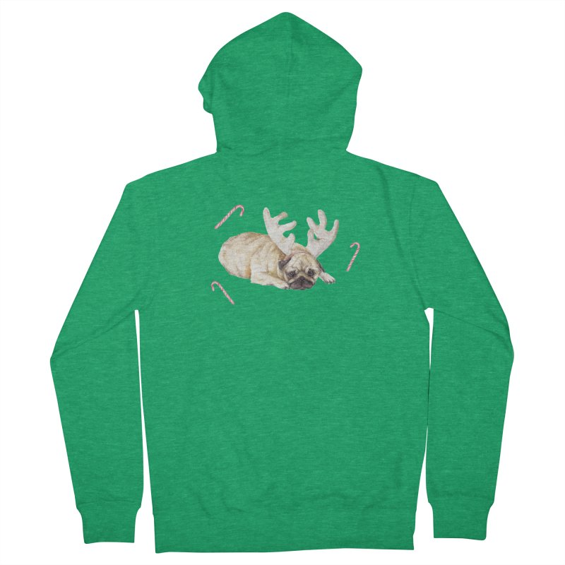 Christmas Pug Dog With Antlers and Candy Canes Women's Zip-Up Hoody by Wandering Laur's Artist Shop