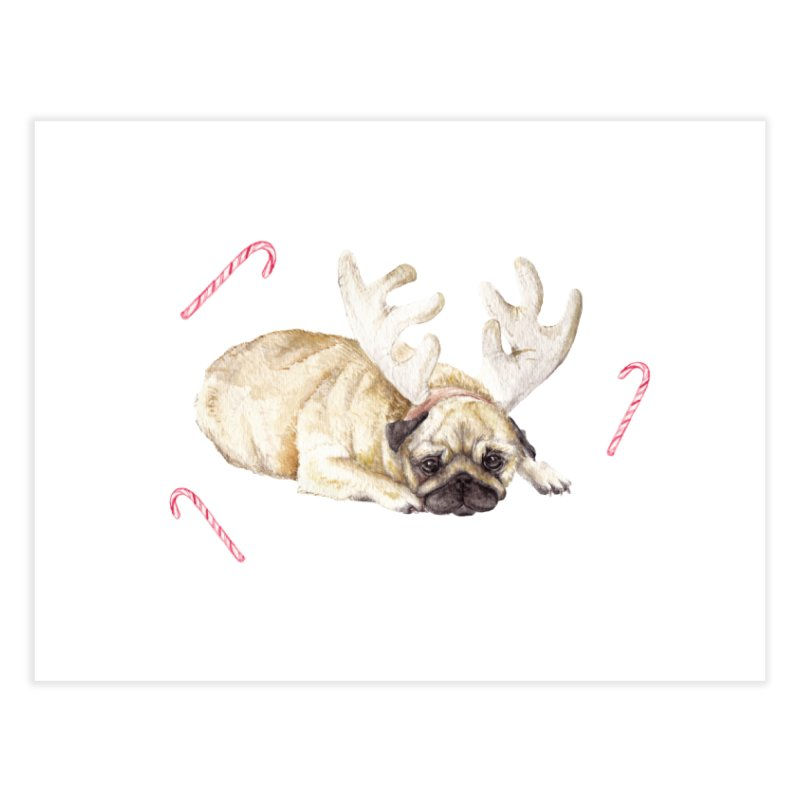 Christmas Pug Dog With Antlers and Candy Canes Home Fine Art Print by Wandering Laur's Artist Shop