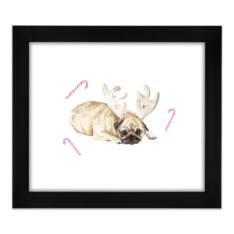Christmas Pug Dog With Antlers and Candy Canes Home Framed Fine Art Print by Wandering Laur's Artist Shop