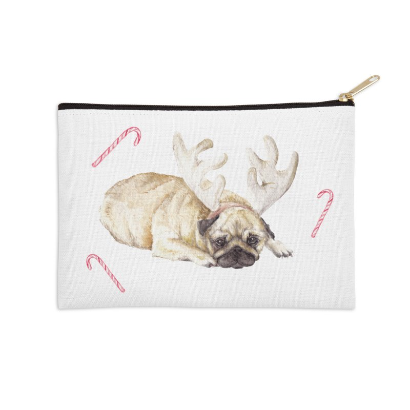 Christmas Pug Dog With Antlers and Candy Canes Accessories Zip Pouch by Wandering Laur's Artist Shop