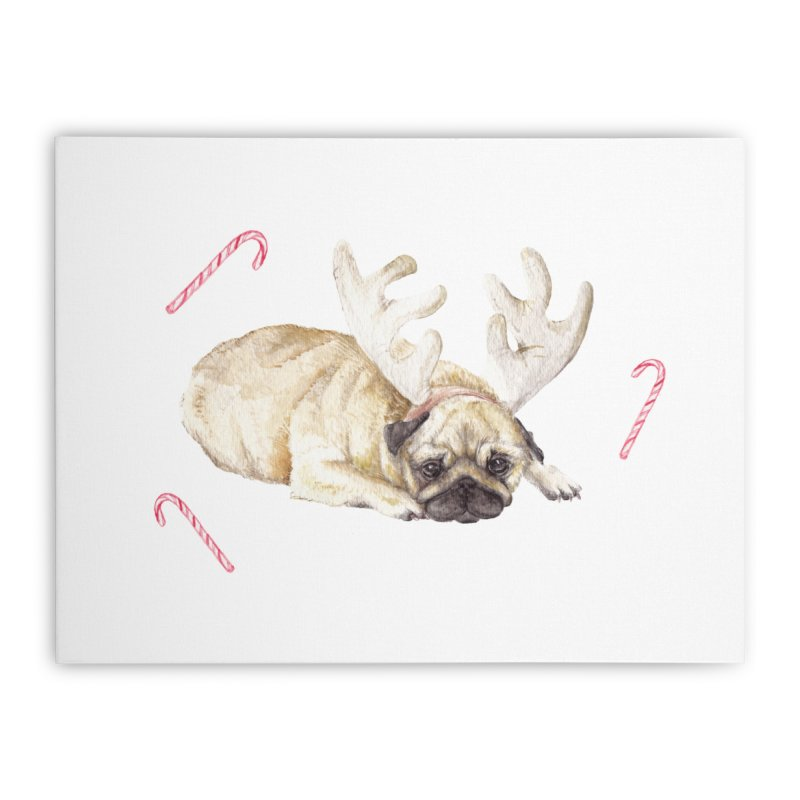 Christmas Pug Dog With Antlers and Candy Canes Home Stretched Canvas by Wandering Laur's Artist Shop