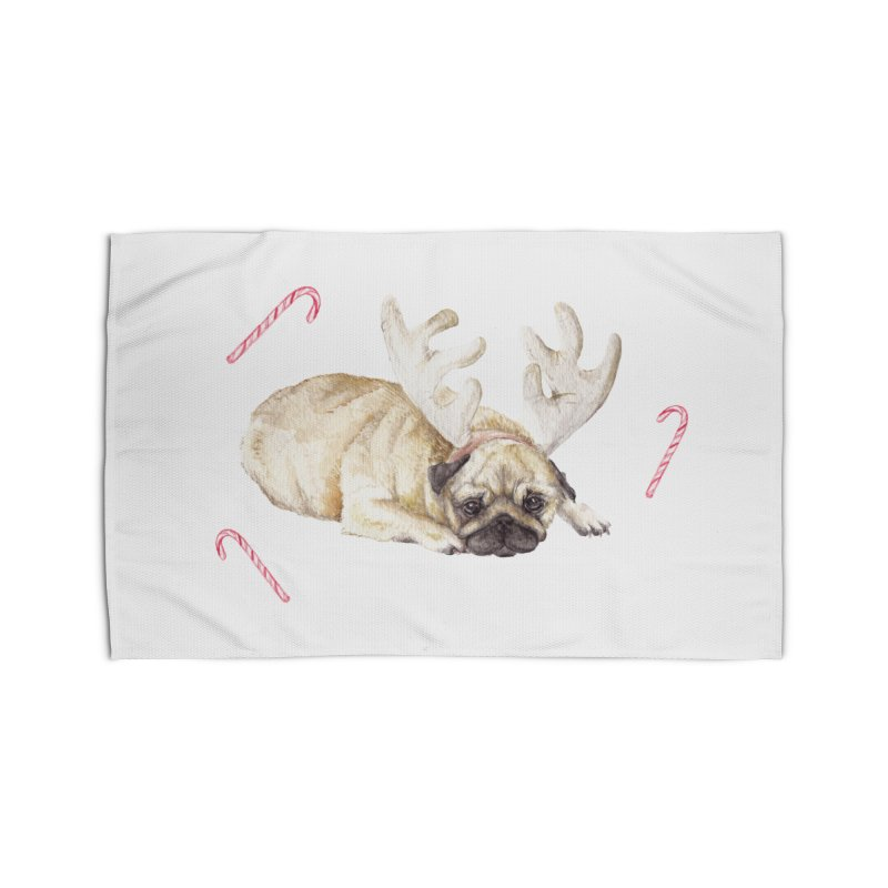 Christmas Pug Dog With Antlers and Candy Canes Home Rug by Wandering Laur's Artist Shop
