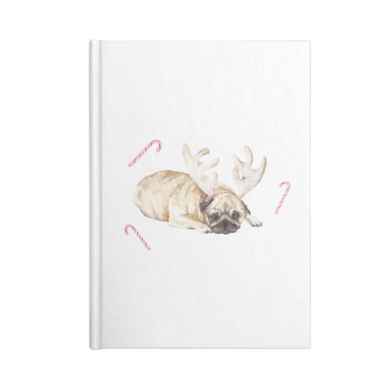 Christmas Pug Dog With Antlers and Candy Canes Accessories Notebook by Wandering Laur's Artist Shop