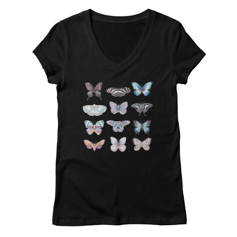 Watercolor Butterflies Women's V-Neck by Wandering Laur's Artist Shop