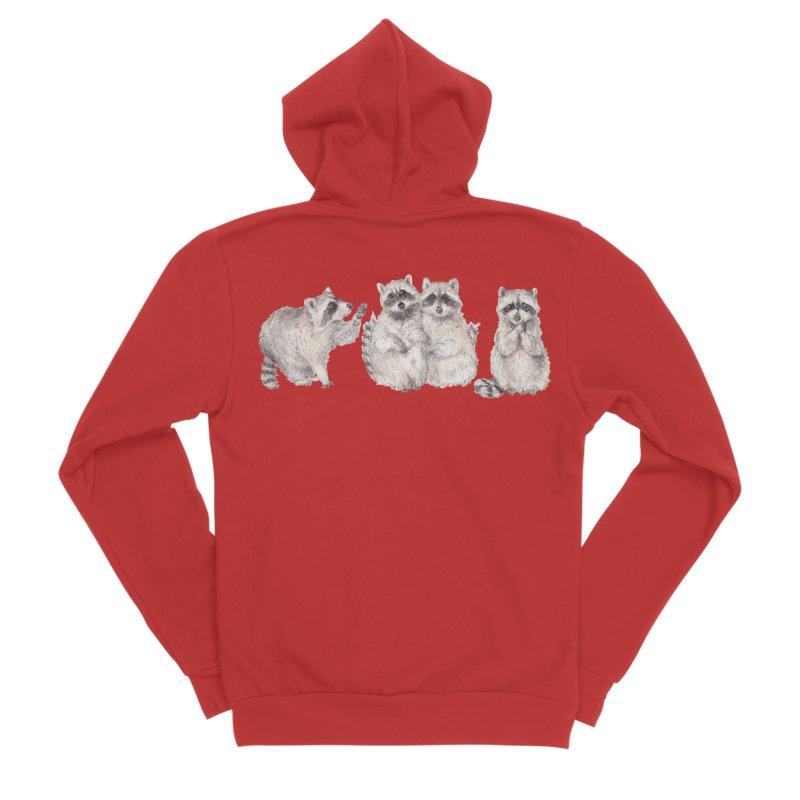 Watercolor Raccoon Men's Zip-Up Hoody by Wandering Laur's Artist Shop