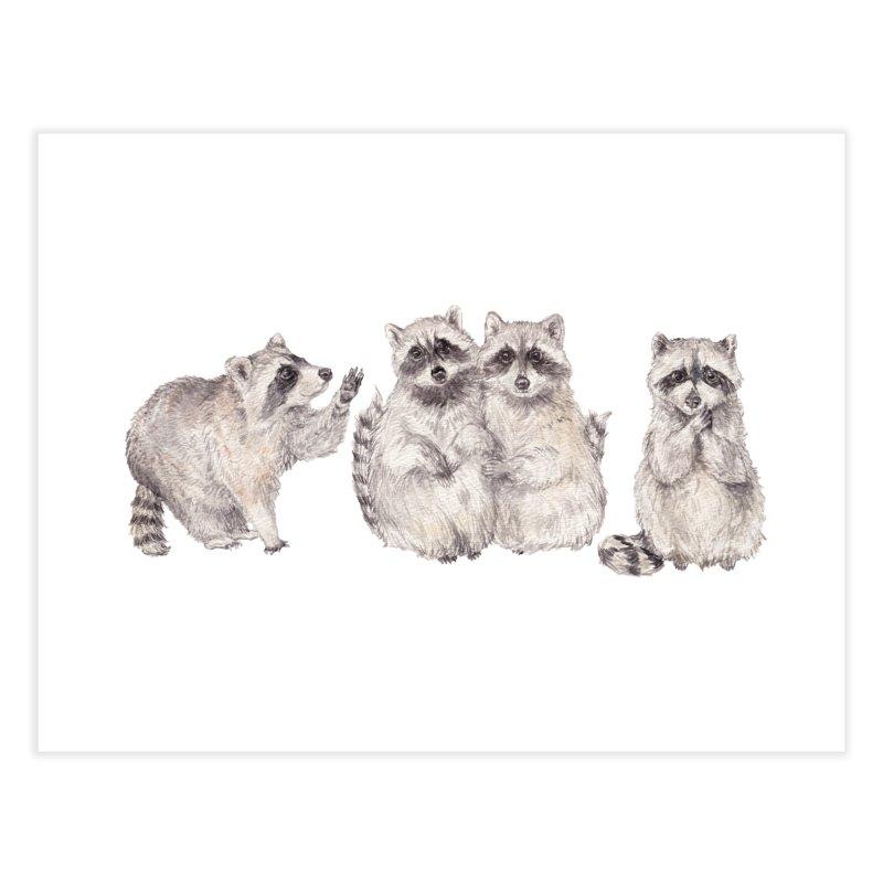 Watercolor Raccoon Home Fine Art Print by Wandering Laur's Artist Shop