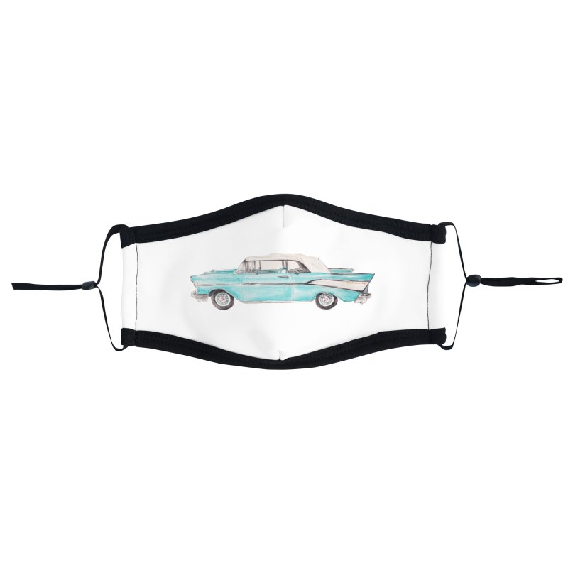 1957 Vintage Car Turquoise Belair Convertible Accessories Face Mask by Wandering Laur's Artist Shop