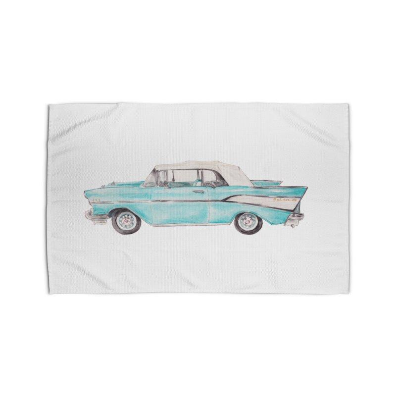 1957 Vintage Car Turquoise Belair Convertible Home Rug by Wandering Laur's Artist Shop