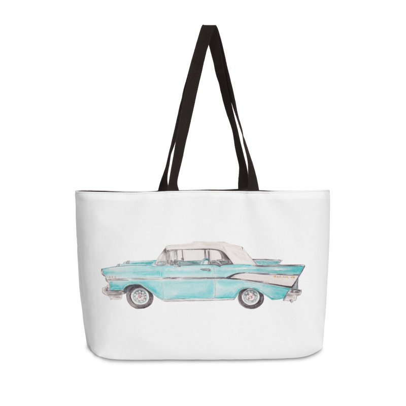 1957 Vintage Car Turquoise Belair Convertible Accessories Bag by Wandering Laur's Artist Shop