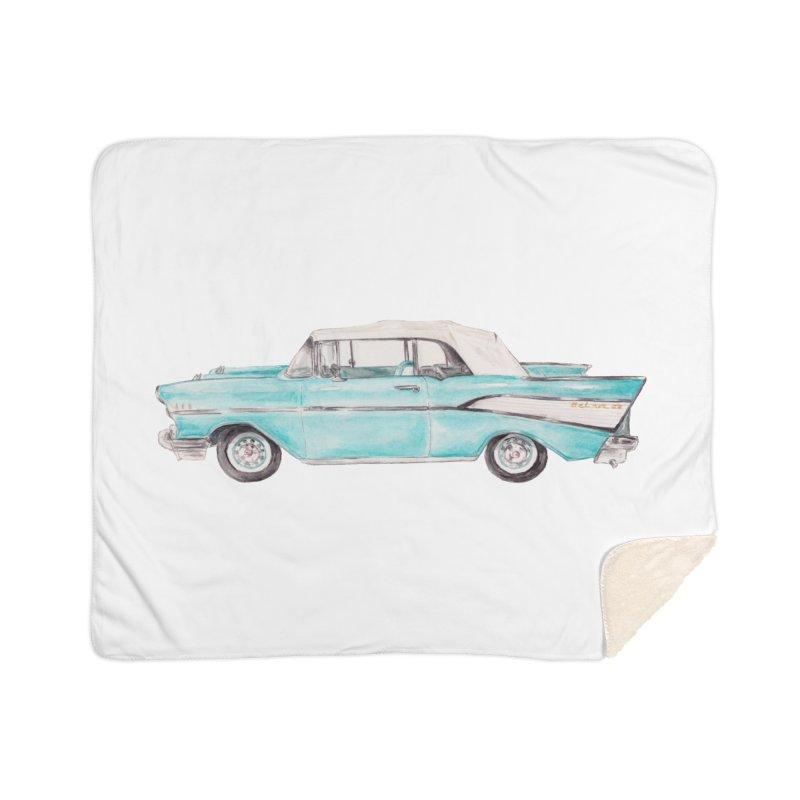 1957 Vintage Car Turquoise Belair Convertible Home Blanket by Wandering Laur's Artist Shop