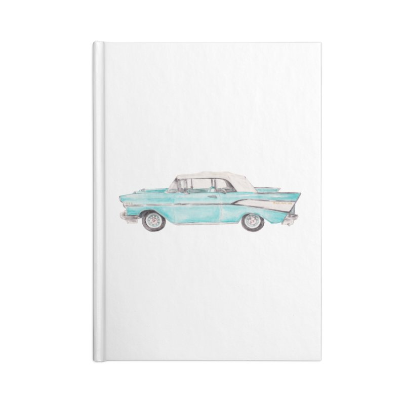 1957 Vintage Car Turquoise Belair Convertible Accessories Notebook by Wandering Laur's Artist Shop