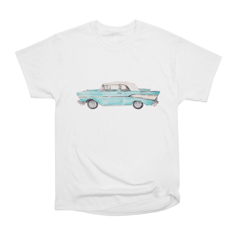 1957 Vintage Car Turquoise Belair Convertible Women's T-Shirt by Wandering Laur's Artist Shop
