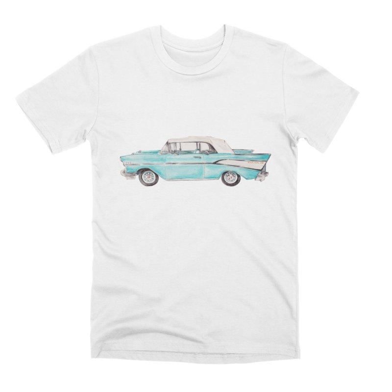 1957 Vintage Car Turquoise Belair Convertible Men's T-Shirt by Wandering Laur's Artist Shop